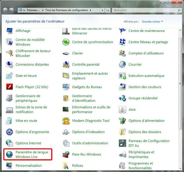 Capture d'écran - Panneau de configuration Windows 7