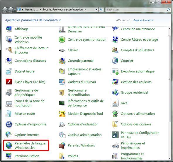 Capture d'écran - Panneau de configuration Windows 7