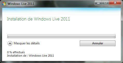 Capture d'écran - Installation de la langue désirée dans Windows Live 2011