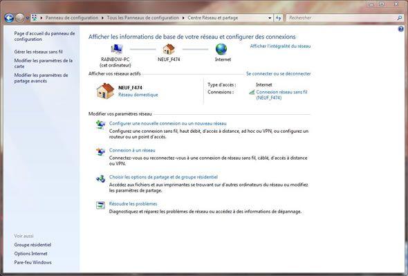 Capture d'écran - Centre réseau et partage de Windows 7