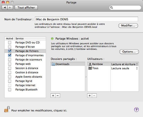 Capture d'écran - Options de partage sous MacOS X Snow Leopard