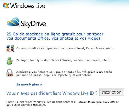 Capture d'écran - Inscription Windows Live SkyDrive
