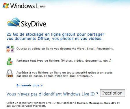 Capture d'écran - Inscription Windows Live SkyDrive