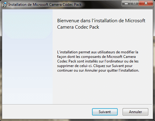 Capture d'écran - Assistant d'installation du Microsoft Camera Codec Pack pour WIndows 7 / Vista