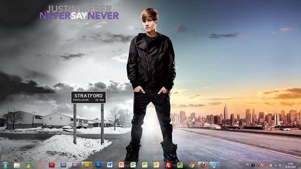 Capture d'écran - Justin Bieber Never Say Never thème visuel pour Windows 7