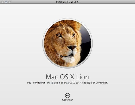 Capture d'écran - Installation de MacOS X Lion