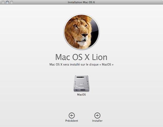 Capture d'écran - Installation de MacOS X Lion, conditions d'utilisation