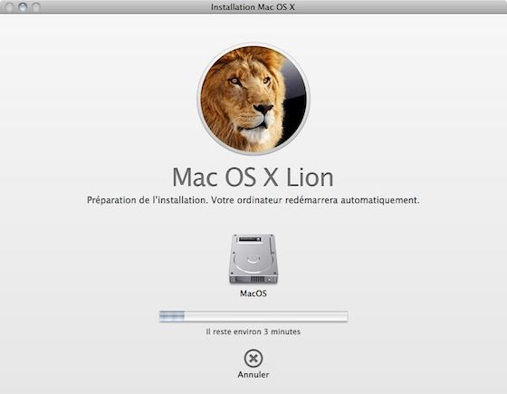 Capture d'écran - Installation de MacOS X Lion, finalisation de l'assistant