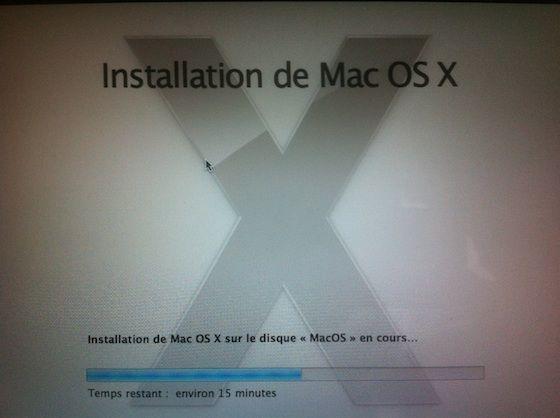 Photographie - Processus d'installation de MacOS X