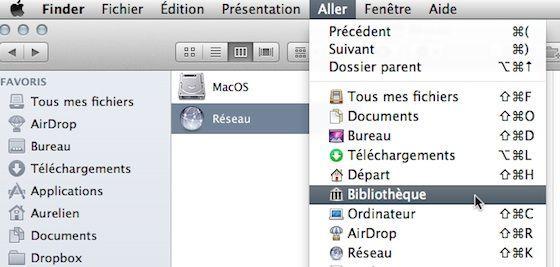 Capture d'écran - Dossier Bibliothèque dans MacOS X Lion