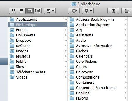 Capture d'écran - Dossier Bibliothèque sous MacOS X Lion
