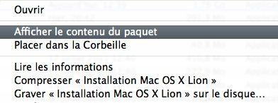 Capture d'écran - Affichage du contenu du paquet de Installation de Mac OS X Lion
