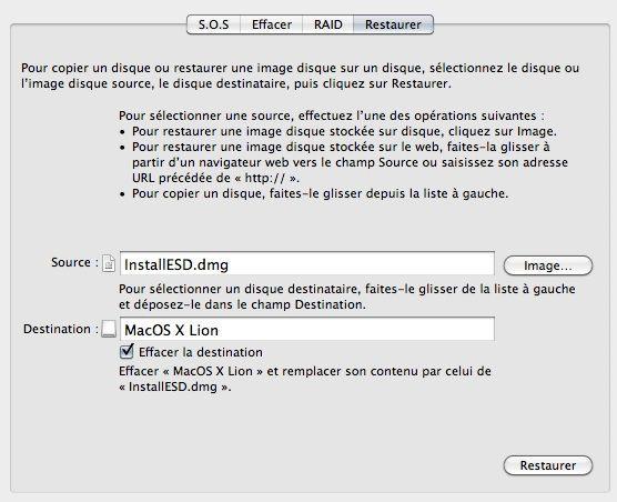 Capture d'écran - Création de la clé USB de Mac OS X Lion