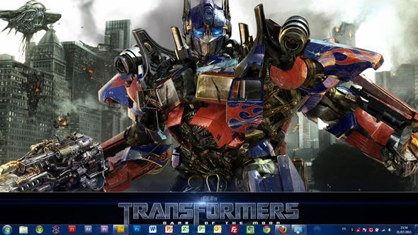 Capture d'écran - Transformers 3 thème visuel pour Windows 7