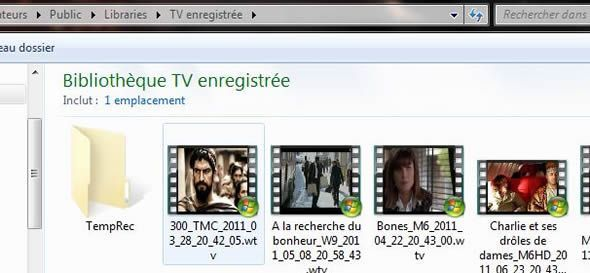 Capture d'écran - Exemple de Bibliothèques Windows 7, TV Enregistrée