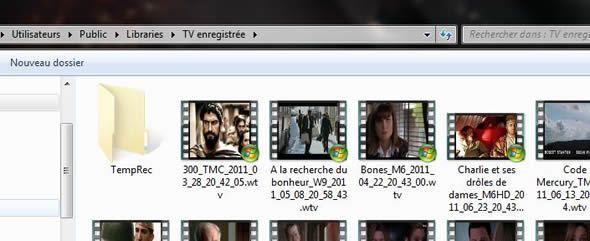 Capture d'écran - En-tête de la bibliothèque TV Enregistrée masqué sous Windows 7