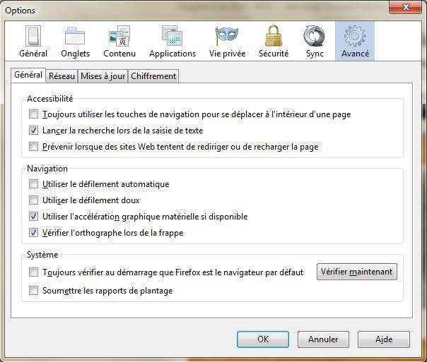 Capture d'écran - Options avancées de Firefox 4/5/6