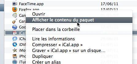Capture d'écran - Contenu du paquet de iCal sous Lion