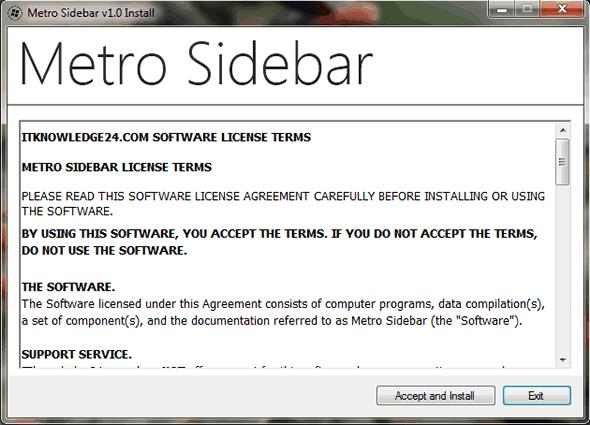 Capture d'écran - Installation de Metro Sidebar (étape 1)