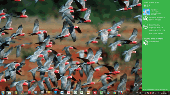 Capture d'écran - Metro Sidebar en pleine action sous Windows 7