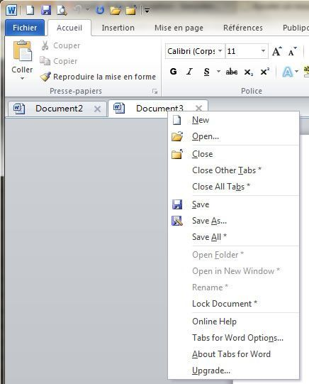 how to create navigation tabs in word