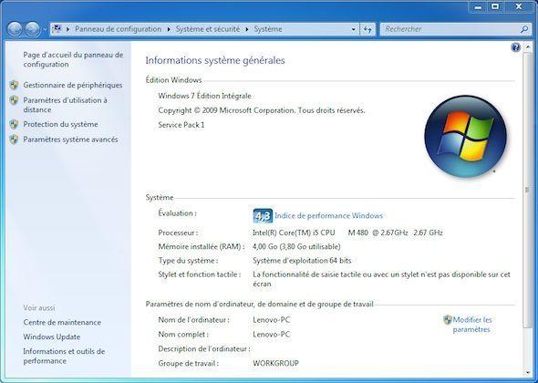 Capture d'écran - Propriétés système de Windows 7