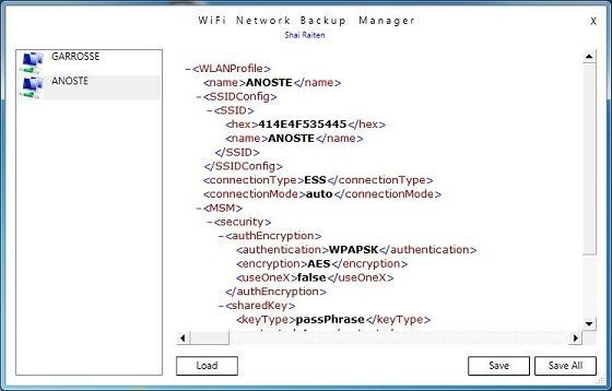 Capture d'écran - WIFINetwork Backup Manager Utility