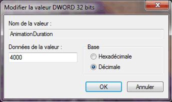 Capture d'écran - Modification de la clé AnimationDuration du Registre