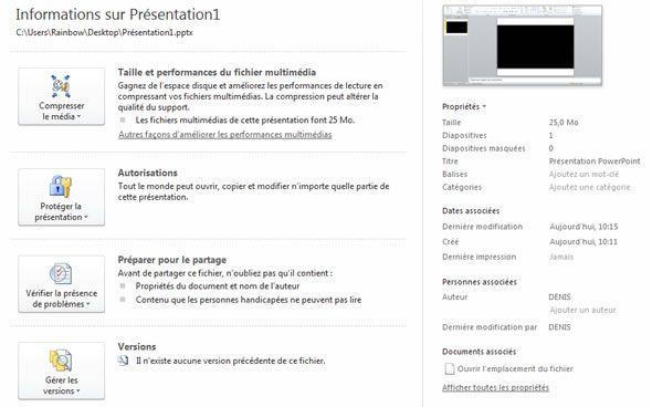 Capture d'écran - Menu Fichier, onglet Informations de PowerPoint 2010
