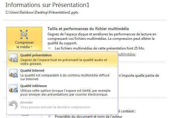 Capture d'écran - Choix du niveau de compression des médias, PowerPoint 2010
