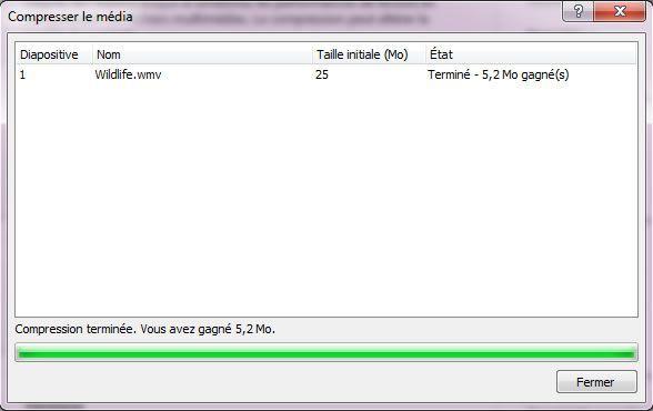 Capture d'écran - Compression de votre PowerPoint en cours