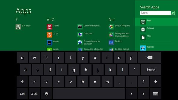 Capture d'écran - Clavier virtuel tactile sous Windows 8