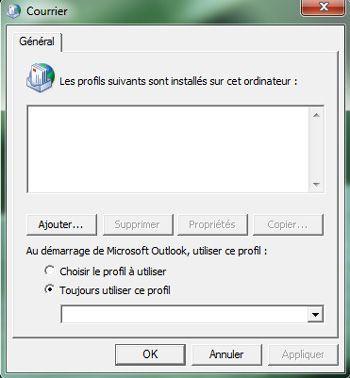 Capture d'écran - Gestion des profils de courrier dans le Panneau de configuration