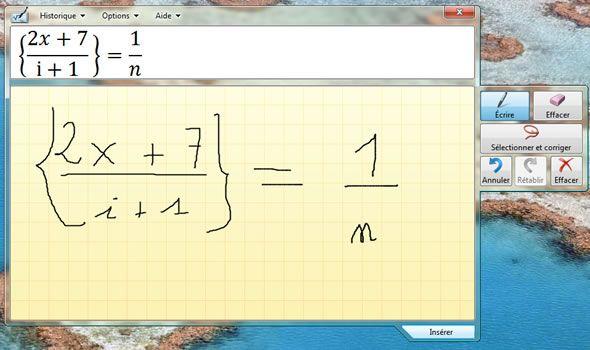 Capture d'écran - Ecriture d'une formule, Panneau de saisie mathématique dans Windows 7