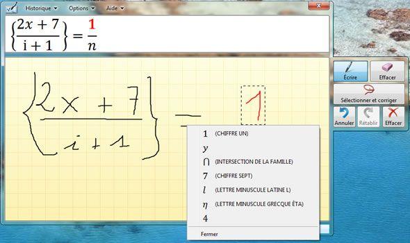Capture d'écran - Correction d'une formule, Panneau de saisie mathématique dans Windows 7