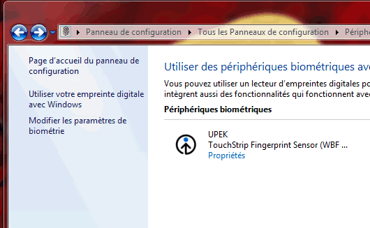 Capture d'écran - Gestion de vos empreintes digitales sous Windows 7