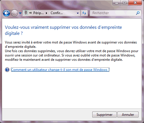 Capture d'écran - Confirmation de suppression de vos données biométriques sous Windows 7
