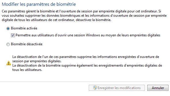 Capture d'écran - Fenêtre d'action/désactivation de la biométrie sous Windows 7