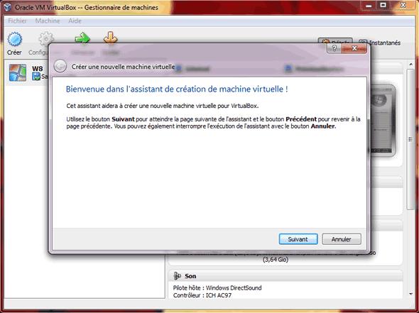 Capture d'écran - Etape 1 de la création de la machine virtuelle pour Windows 8