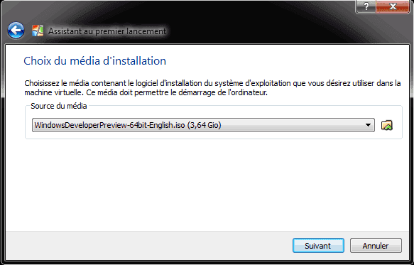 Capture d'écran - Choix du media d'installation sous VirtualBox