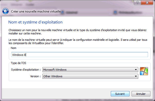 Capture d'écran - Etape 2 de la création de la machine virtuelle pour Windows 8