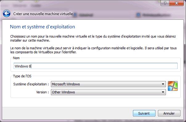 Capture d'écran - Etape 2 de la création de la machine virtuelle pour Windows 8