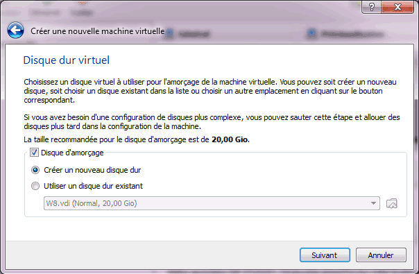 Capture d'écran - Etape 4 de la création de la machine virtuelle pour Windows 8