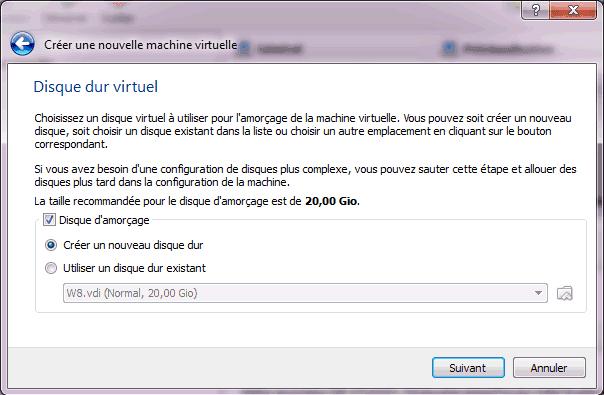 Capture d'écran - Etape 4 de la création de la machine virtuelle pour Windows 8