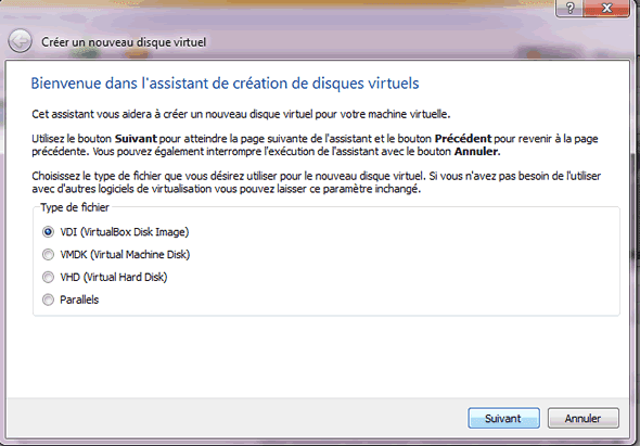 Capture d'écran - Etape 5 de la création de la machine virtuelle pour Windows 8