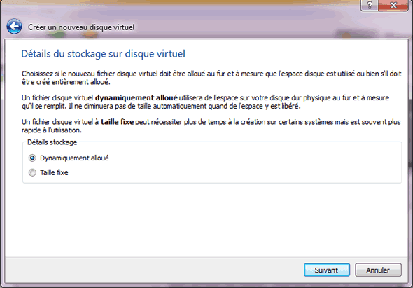 Capture d'écran - Etape 6 de la création de la machine virtuelle pour Windows 8