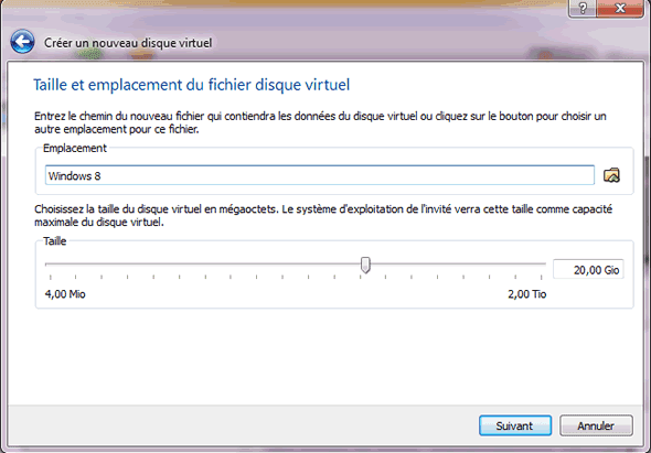 Capture d'écran - Etape 7 de la création de la machine virtuelle pour Windows 8