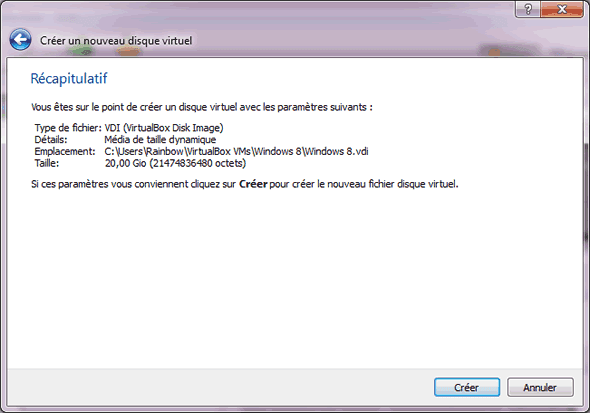 Capture d'écran - Etape 8 de la création de la machine virtuelle pour Windows 8