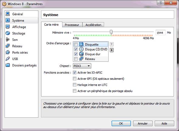 Capture d'écran - Configuration de la VM, partie Carte mère
