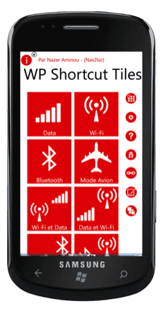 Capture d'écran - Shortcut Tiles, application Windows Phone 7